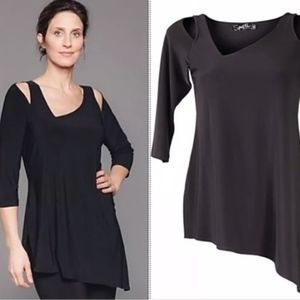 Sympli Asymmetrical Coldshoulder Focus Tunic Top